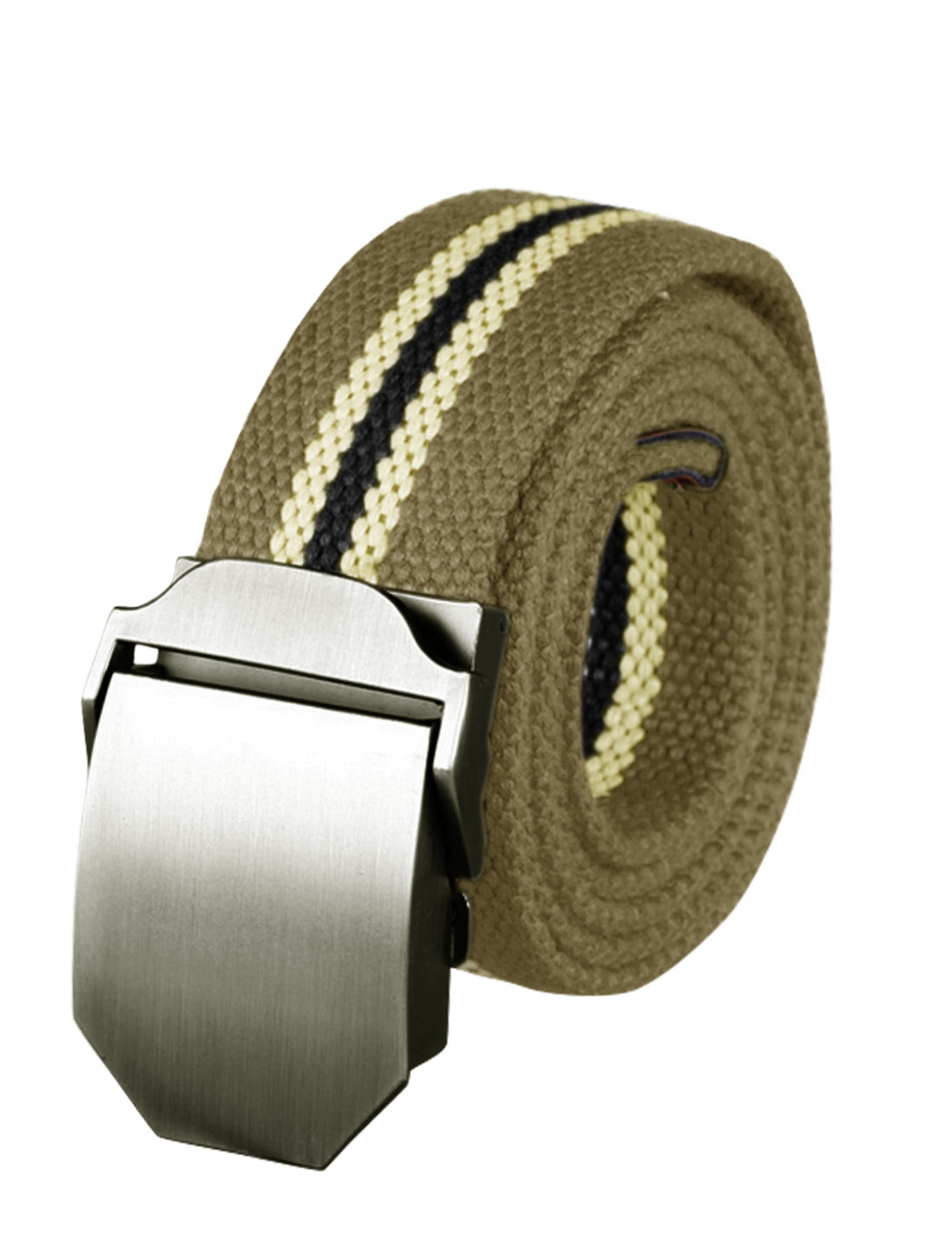 Men Metal Automatic Buckle Military Stripes Canvas Belt Light Brown