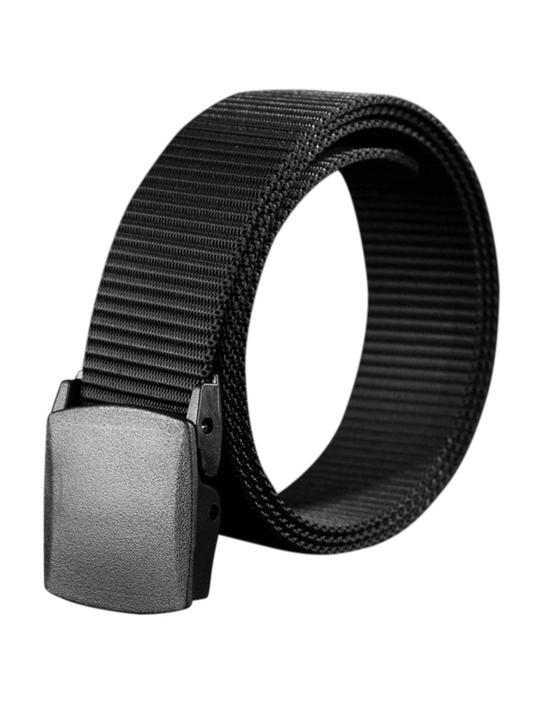 Unisex Plastic Buckle Adjustable Military Canvas Belt Black