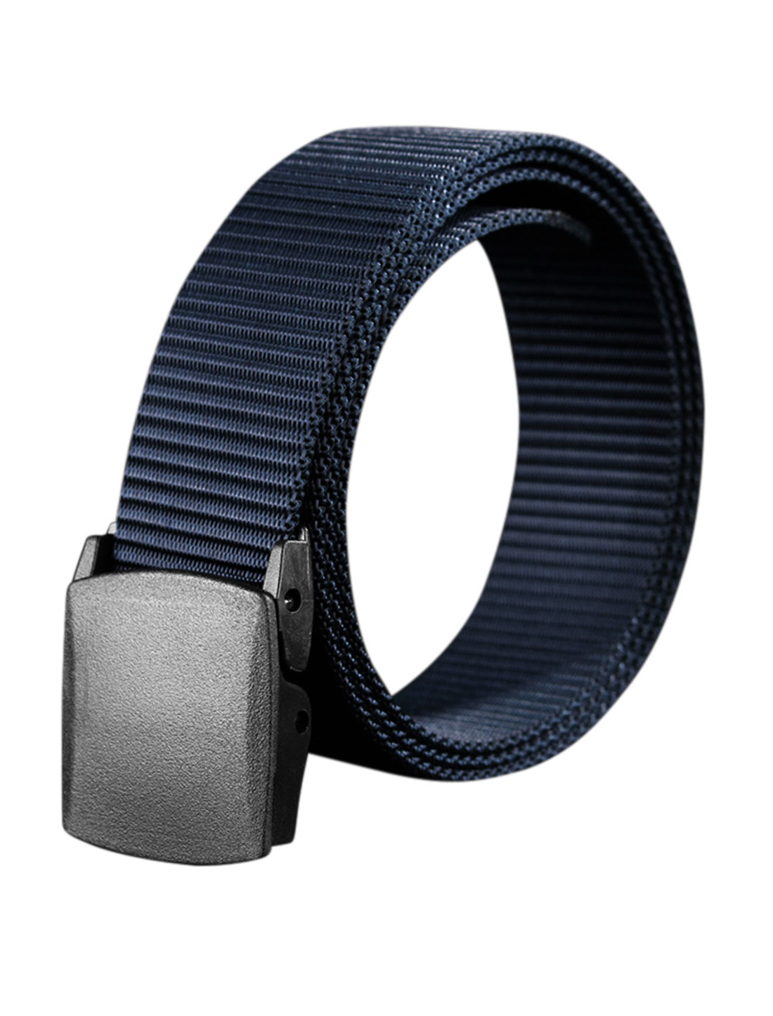 Unisex Plastic Buckle Adjustable Military Canvas Belt Blue