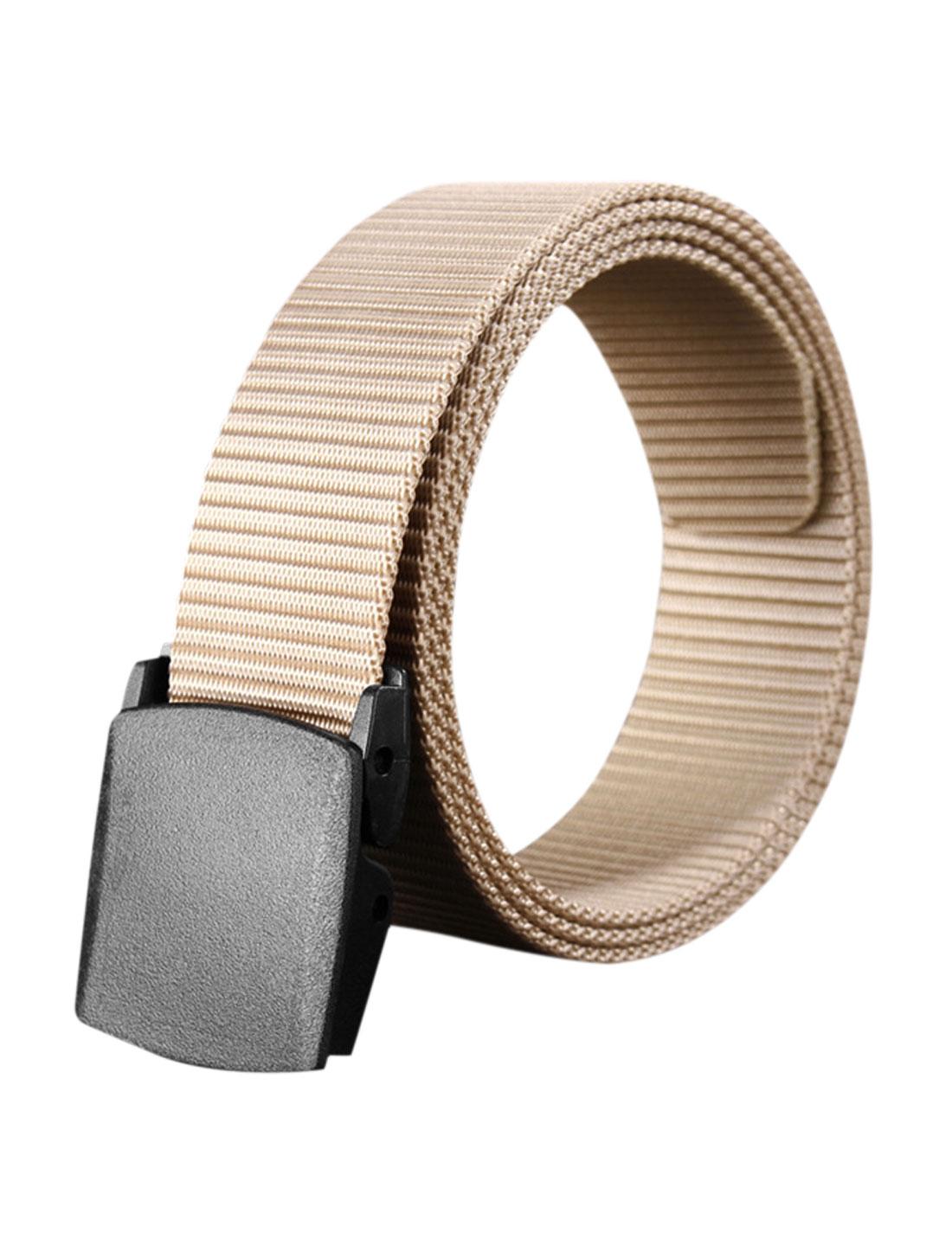 Unisex Plastic Buckle Adjustable Military Canvas Belt Beige