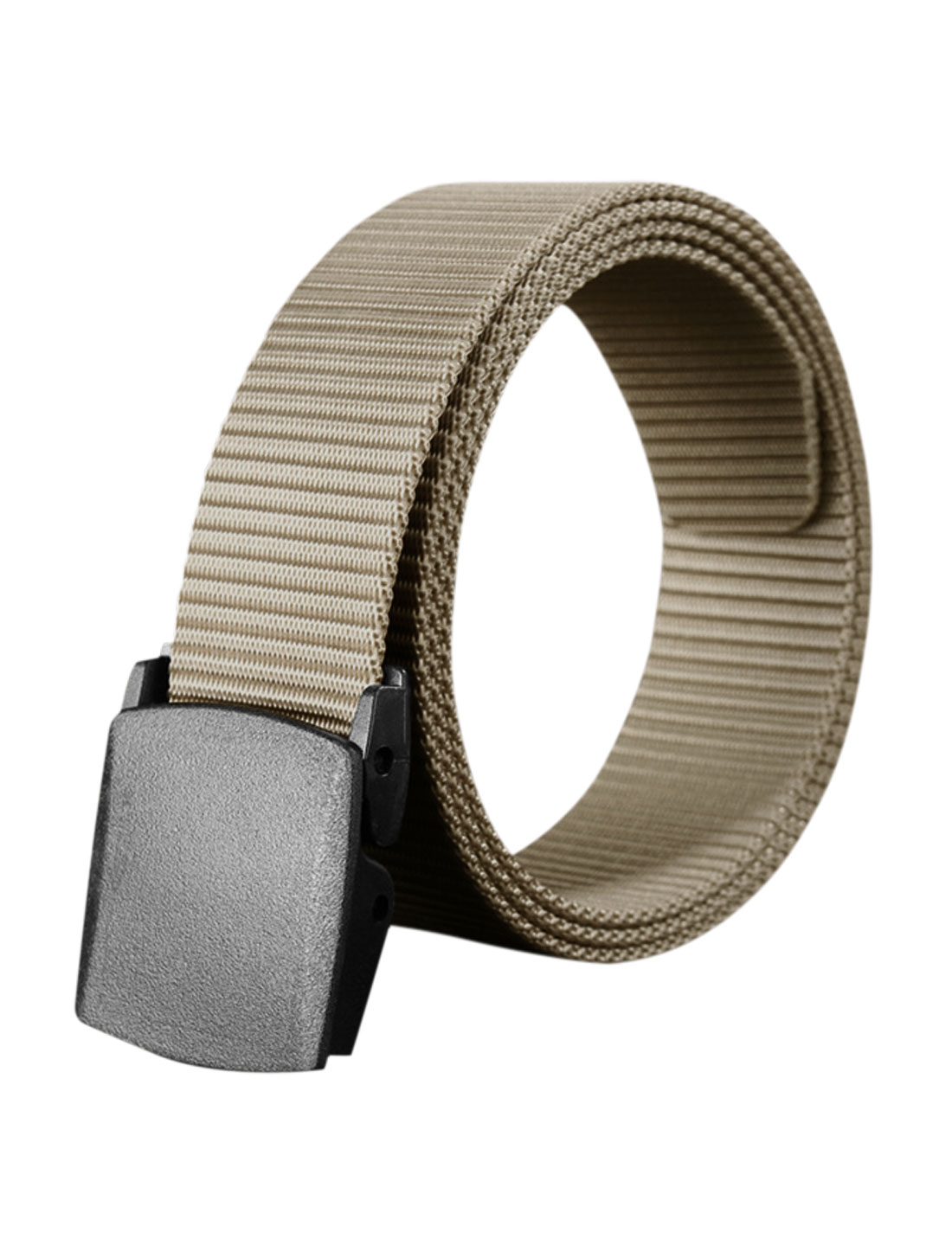 Unisex Plastic Buckle Adjustable Military Canvas Belt Taupe