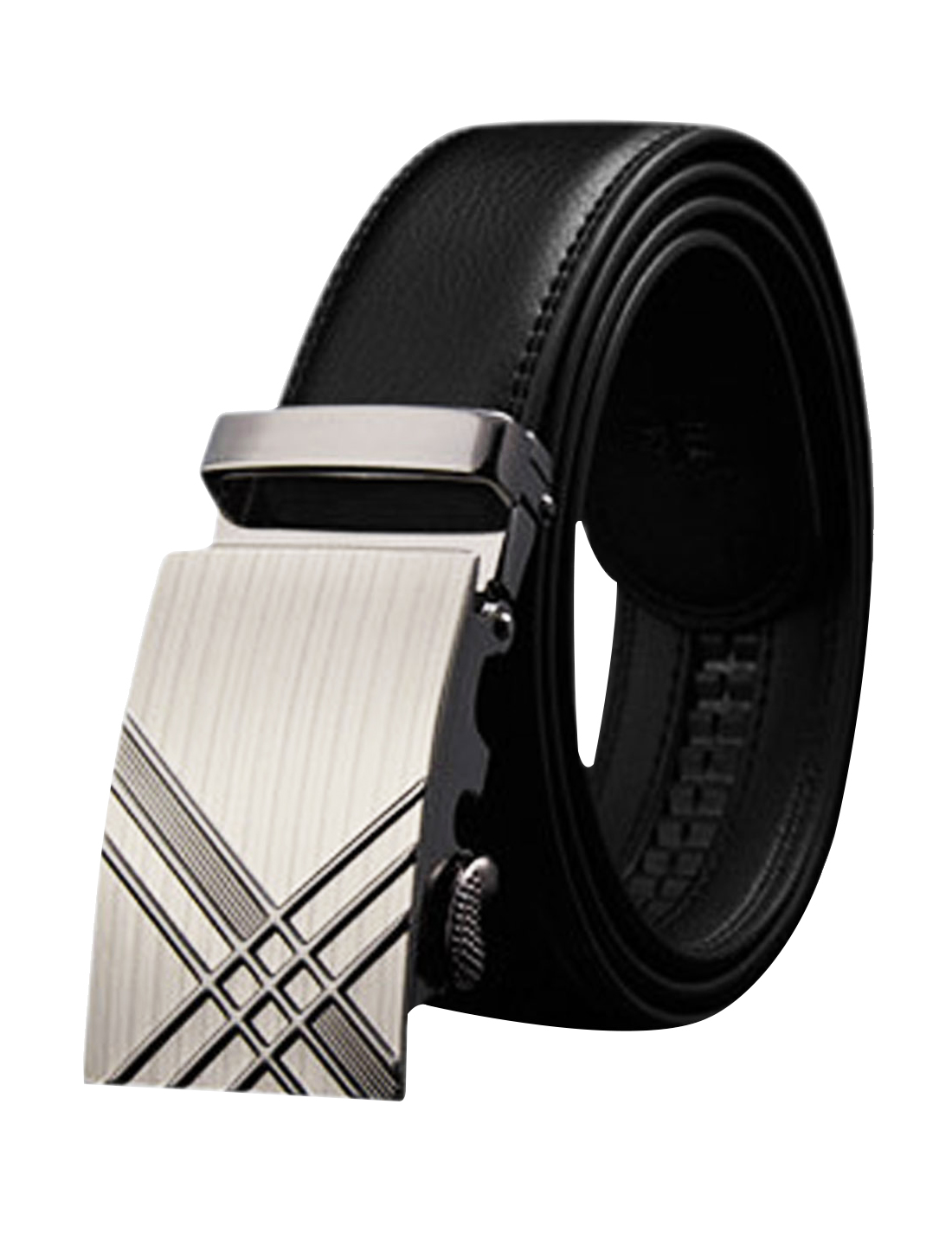 Men Automatic Buckle Holeless Stitched PU Ratchet Belt Black 120CM
