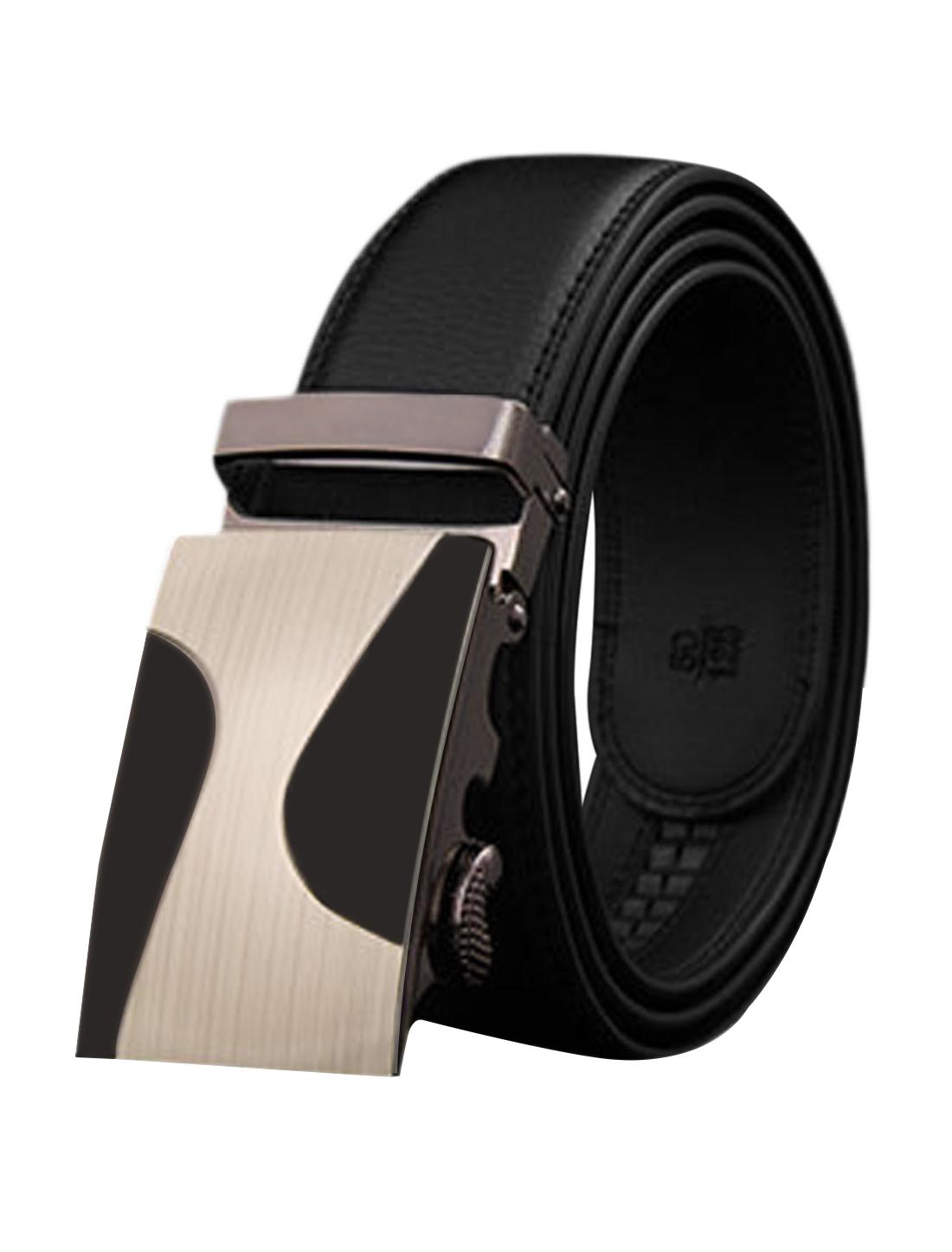 Man Slide Buckle Adjustable Holeless PU Ratchet Belt Black 115CM
