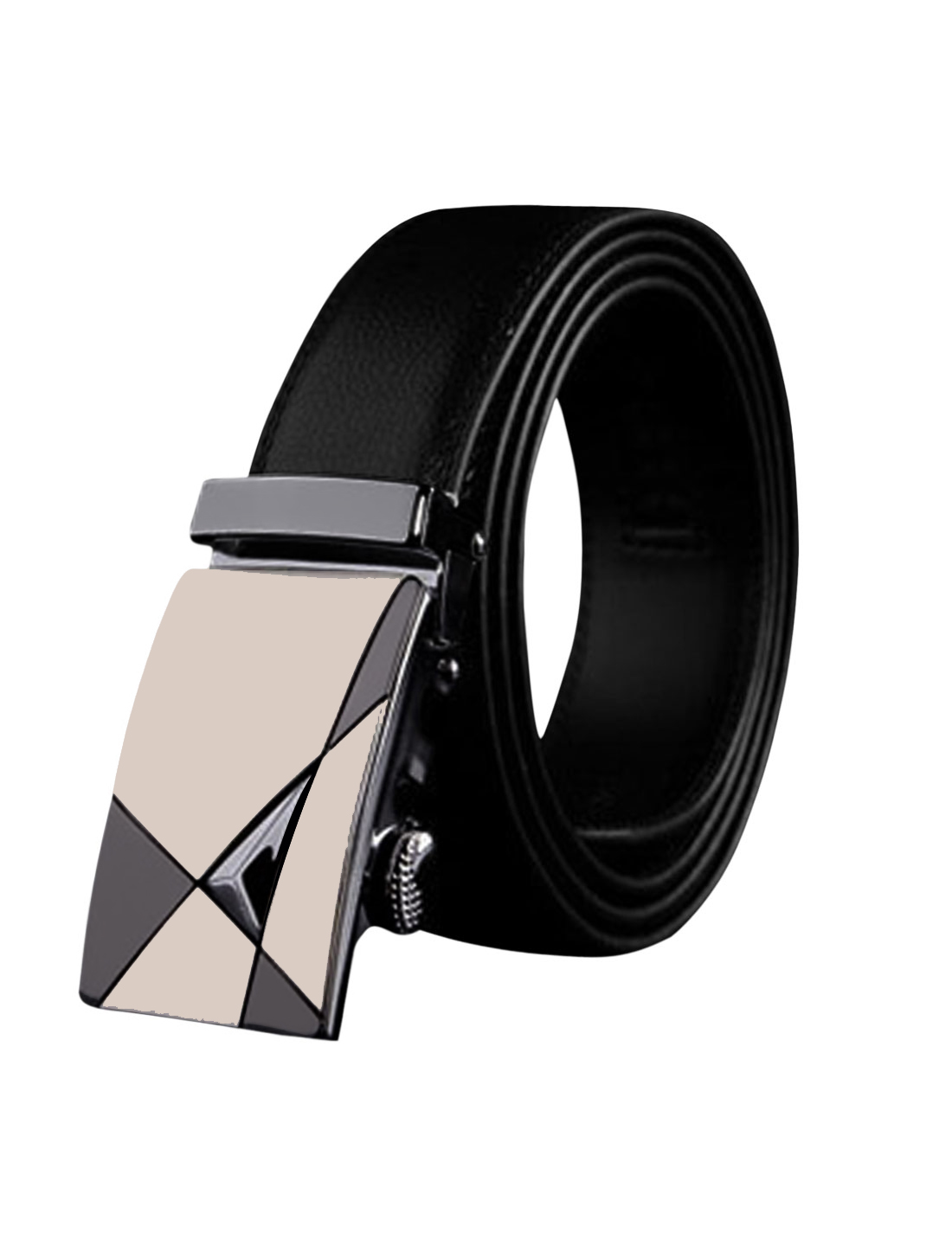 Men Slide Buckle Adjustable Holeless PU Ratchet Belt Black 110CM