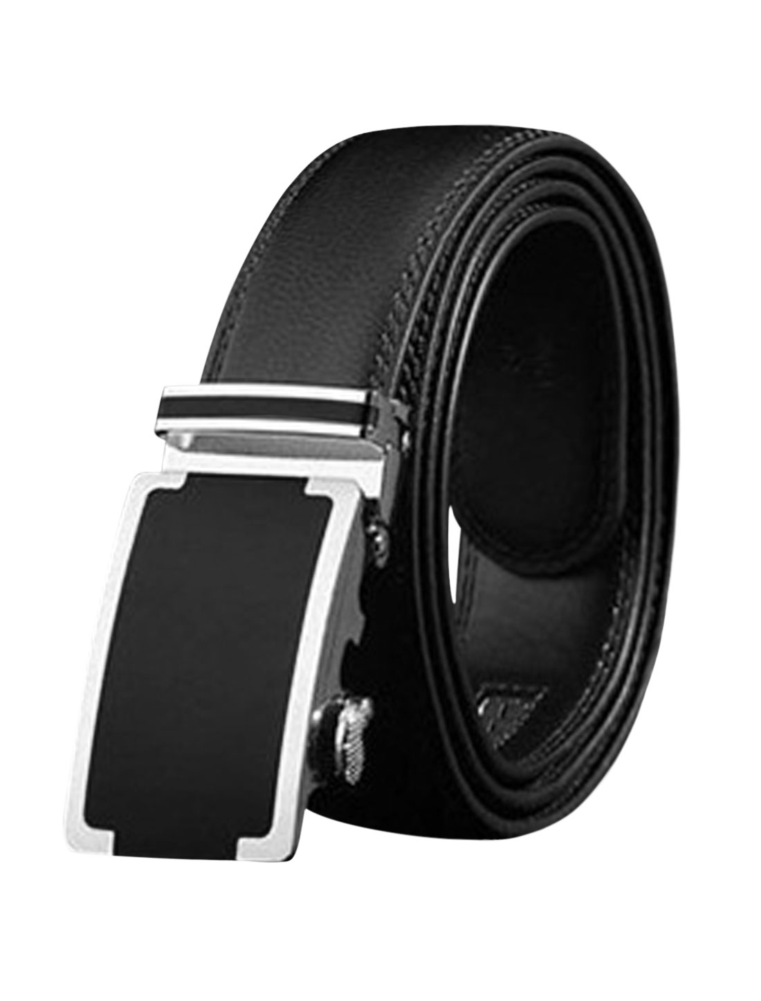 Men Automatic Holeless Stitched PU Leather Ratchet Belt Black 120CM