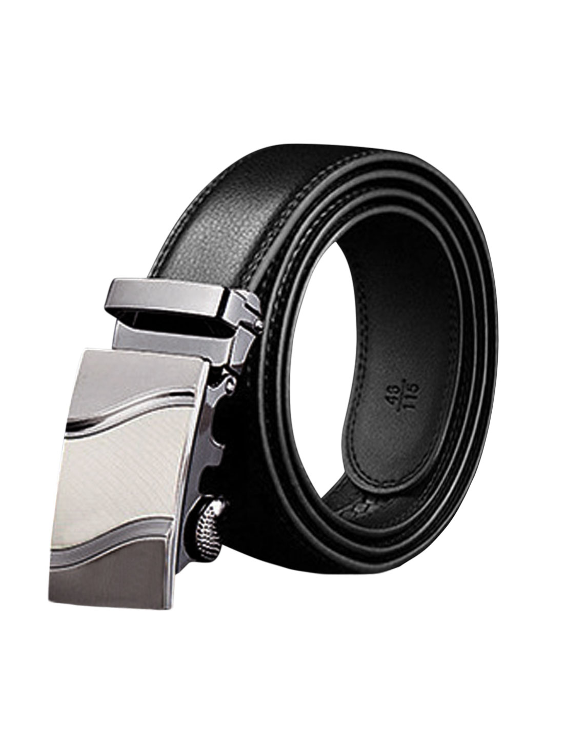 Men Automatic Holeless Decorative Stitch PU Ratchet Belt Black 125CM