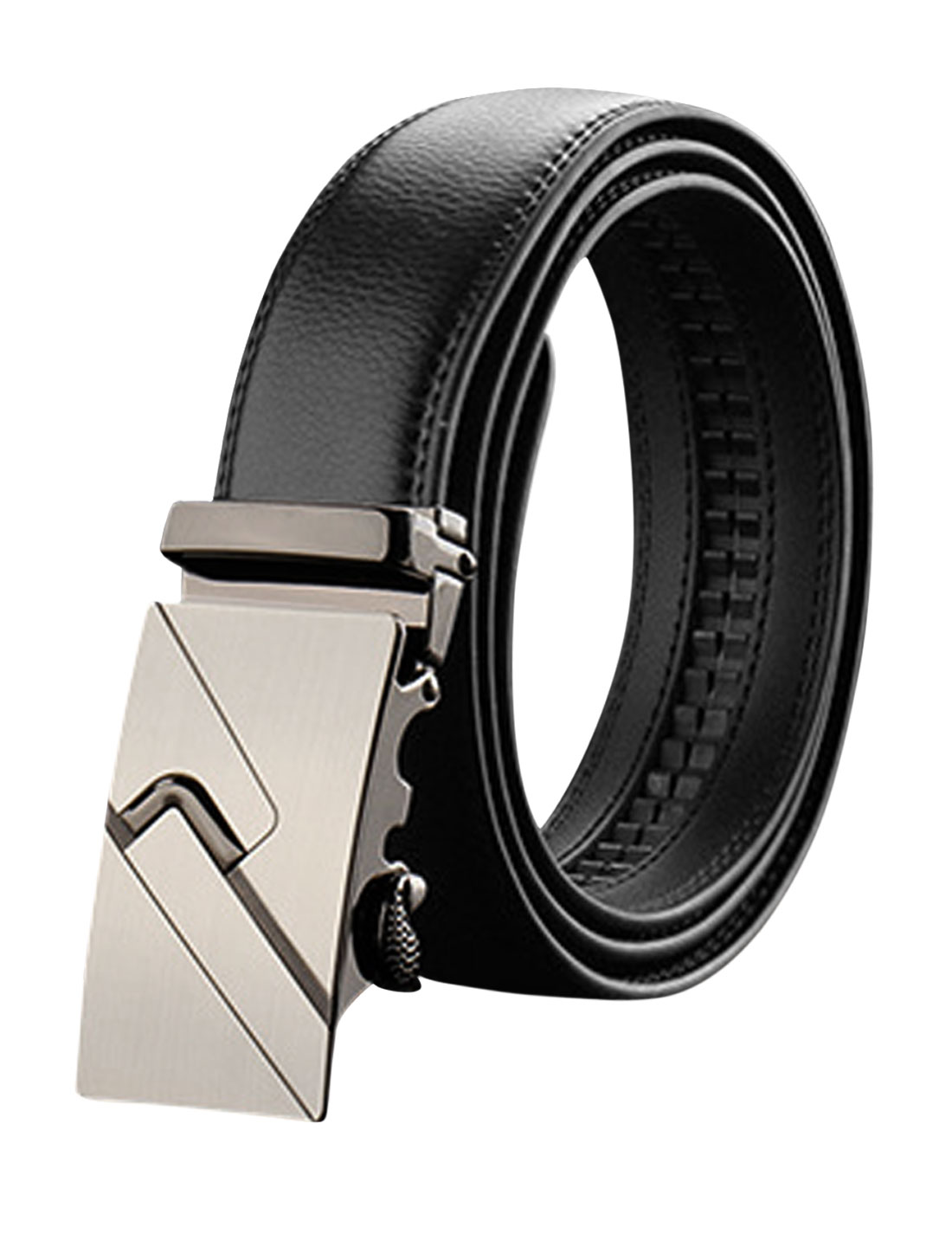 Men Automatic Buckle Holeless Decorative Stitch PU Ratchet Belt Black 115CM