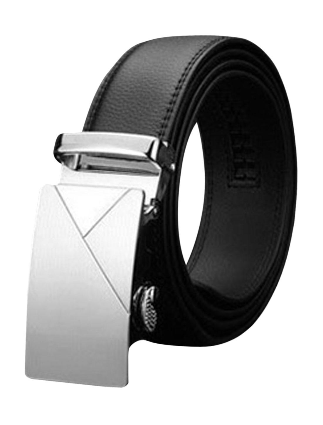 Men Automatic Buckle Holeless Stitching PU Leather Ratchet Belt Black 120CM