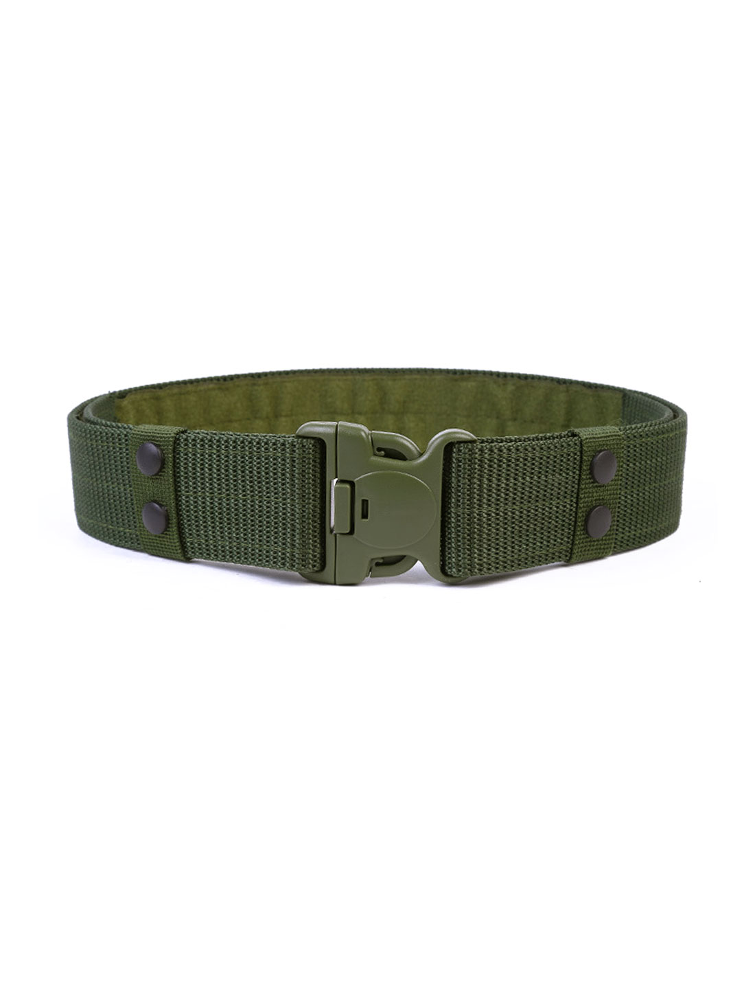 Men Plastic Release Buckle Hook and Loop Fastener Adjustable Canvas Belt Olive