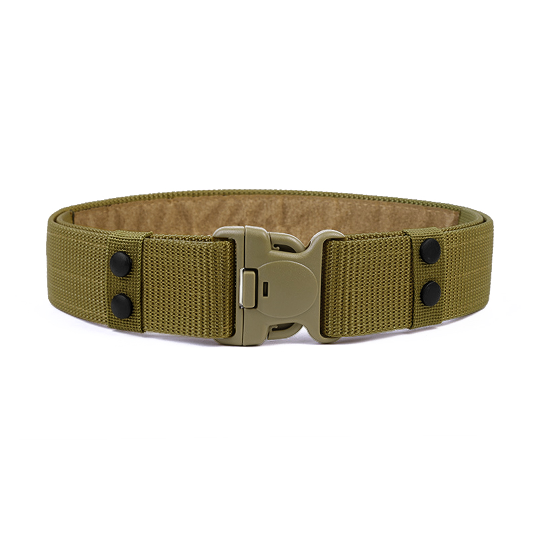 Men Plastic Release Buckle Hook and Loop Fastener Adjustable Canvas Belt Army Green