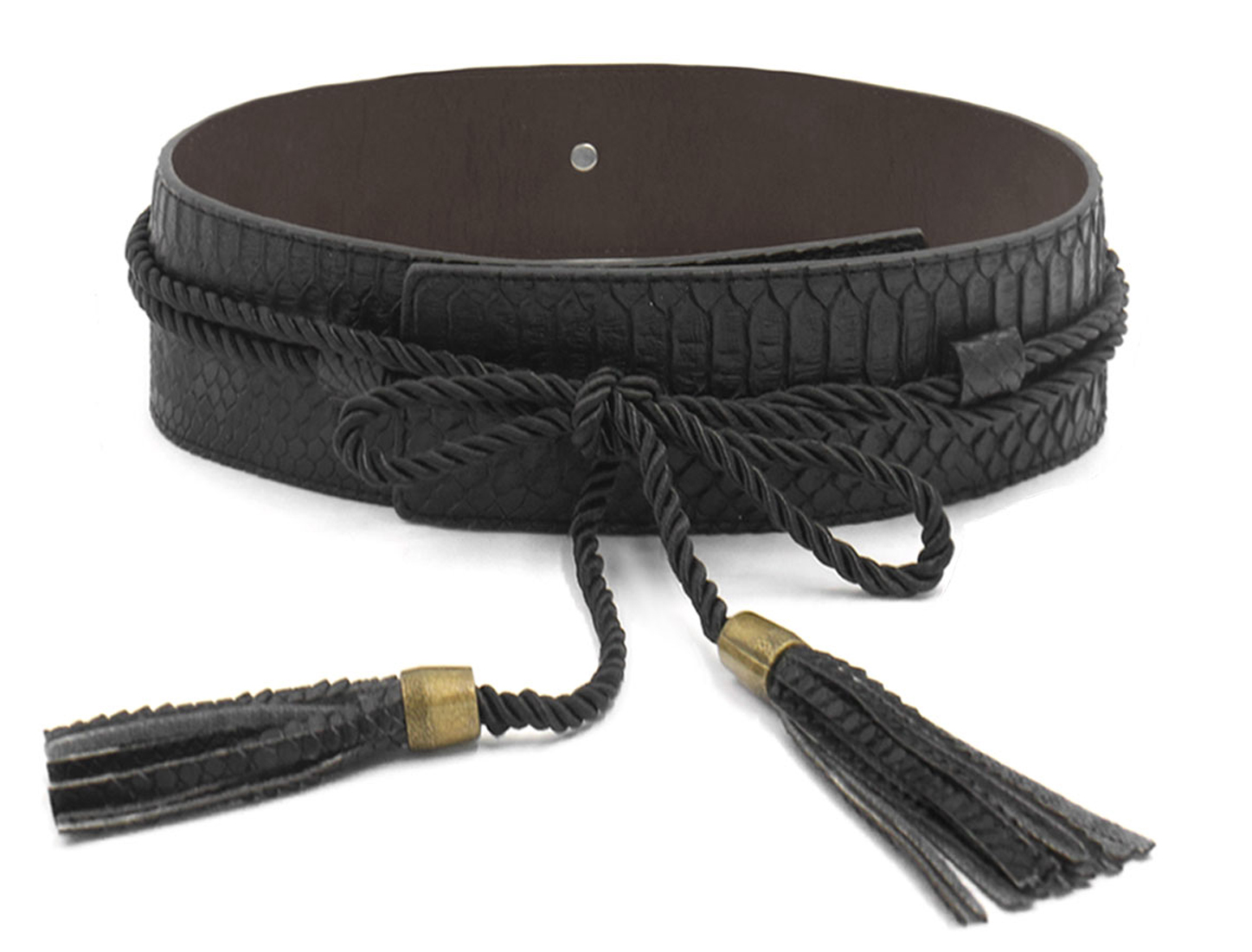 Women Snakeskin Tassel Decor Self Tie PU Waist Belt Black