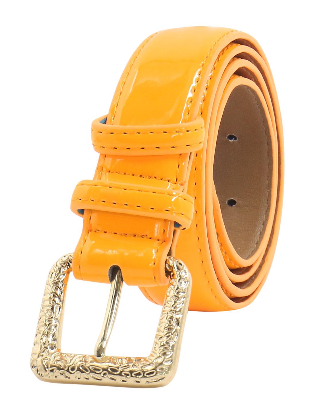 Women Adjustable Single Pin Buckle PU Waist Belt Ochre