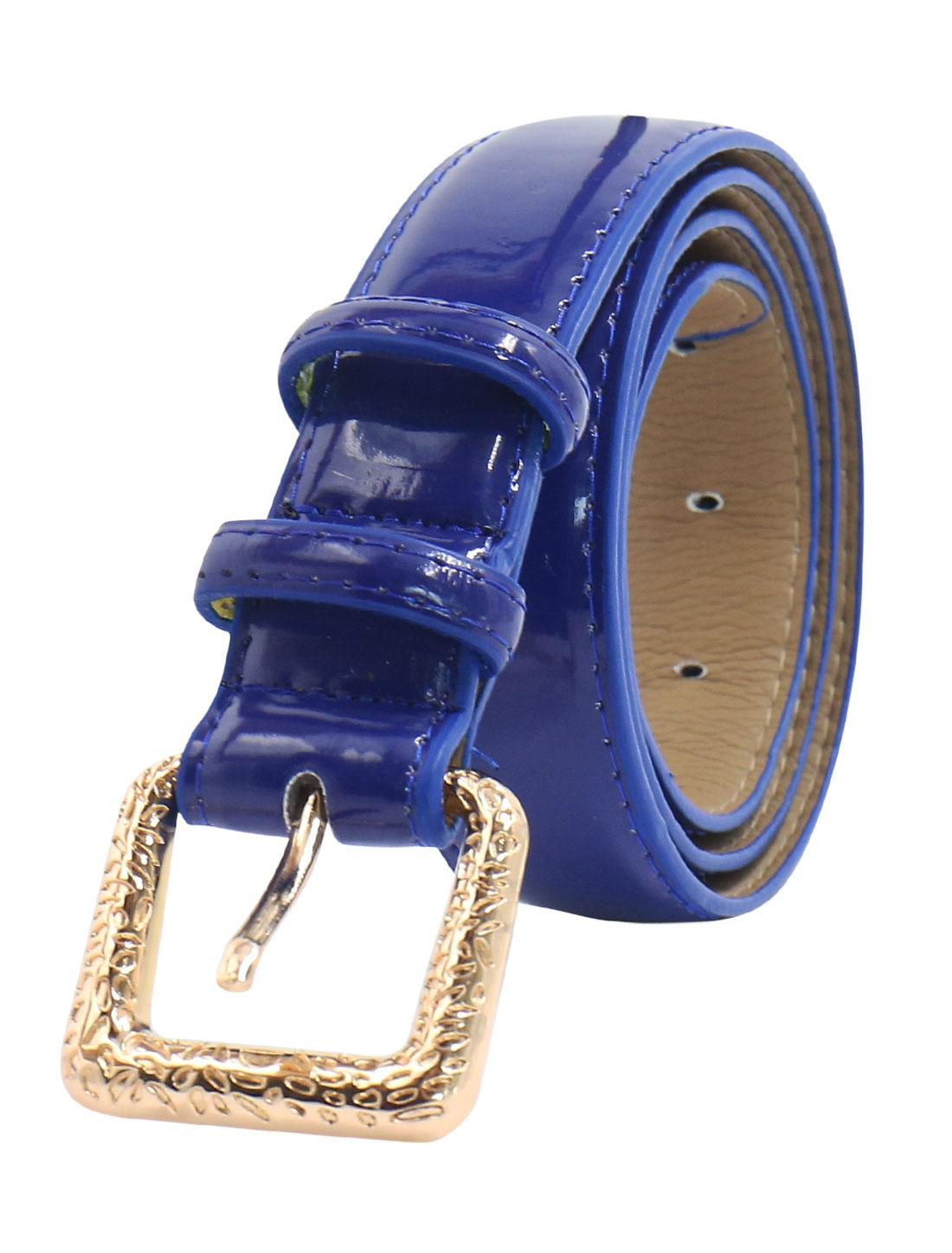 Women Adjustable Single Pin Buckle PU Waist Belt Blue