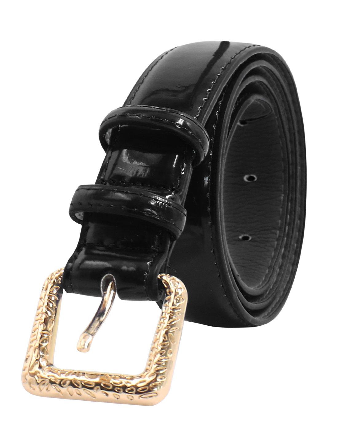 Women Adjustable Single Pin Buckle PU Waist Belt Black