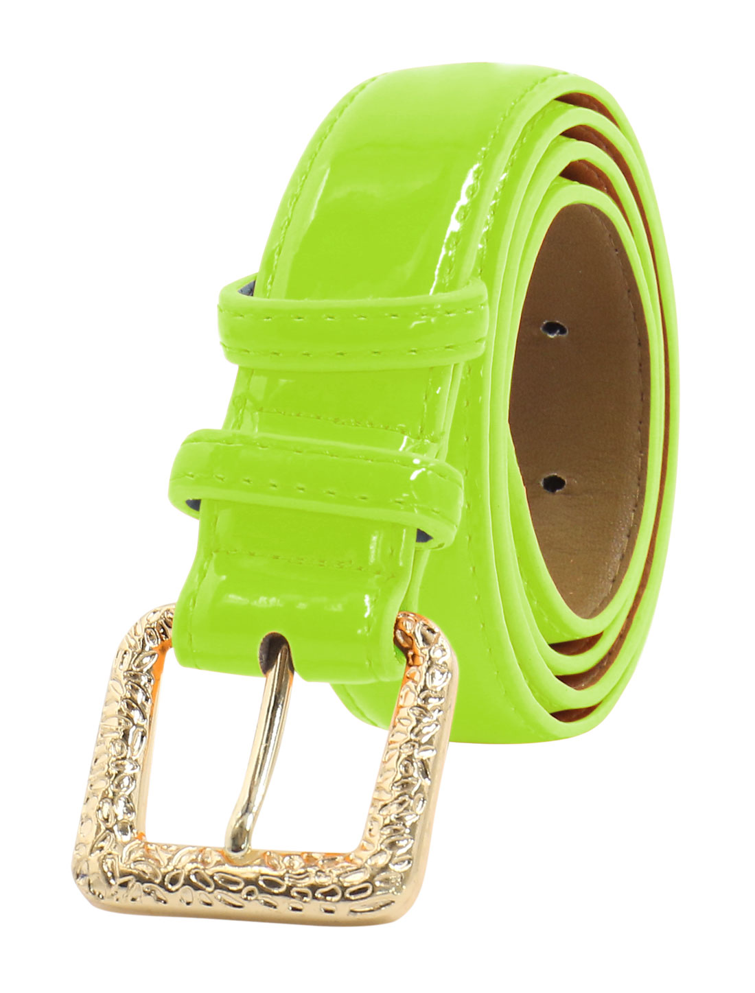 Women Adjustable Single Pin Buckle PU Waist Belt Green