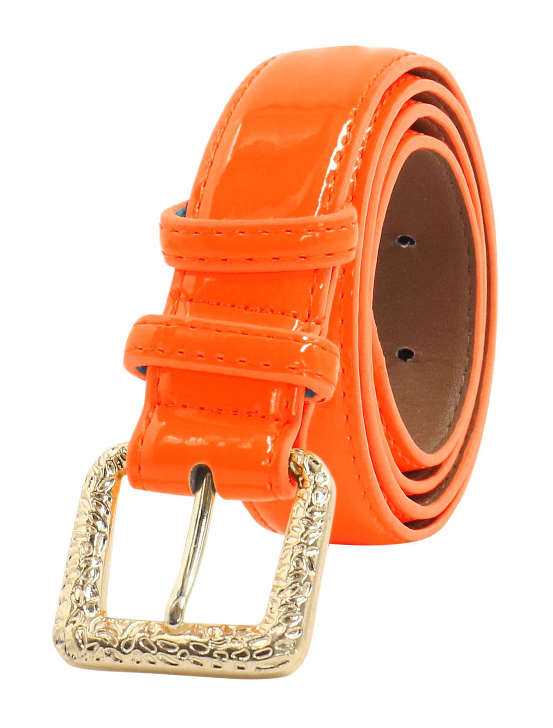 Women Adjustable Single Pin Buckle PU Waist Belt Orange