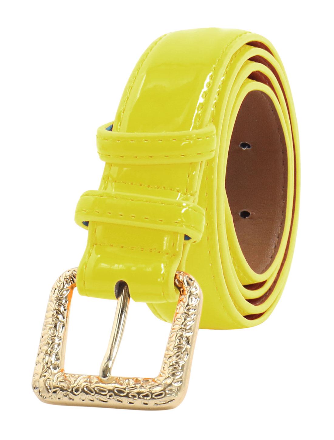 Women Adjustable Single Pin Buckle PU Waist Belt Light Yellow