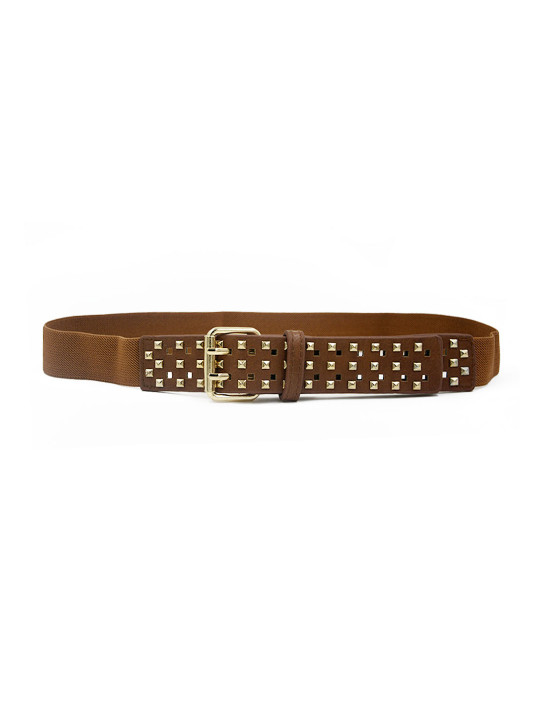 Women Stud Decor Adjustable Stretchy PU Panel Waist Belt Camel