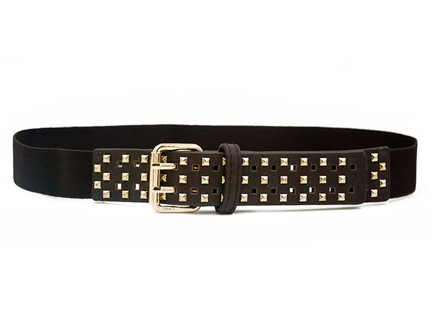 Women Stud Decor Adjustable Stretchy PU Panel Waist Belt Dark Brown