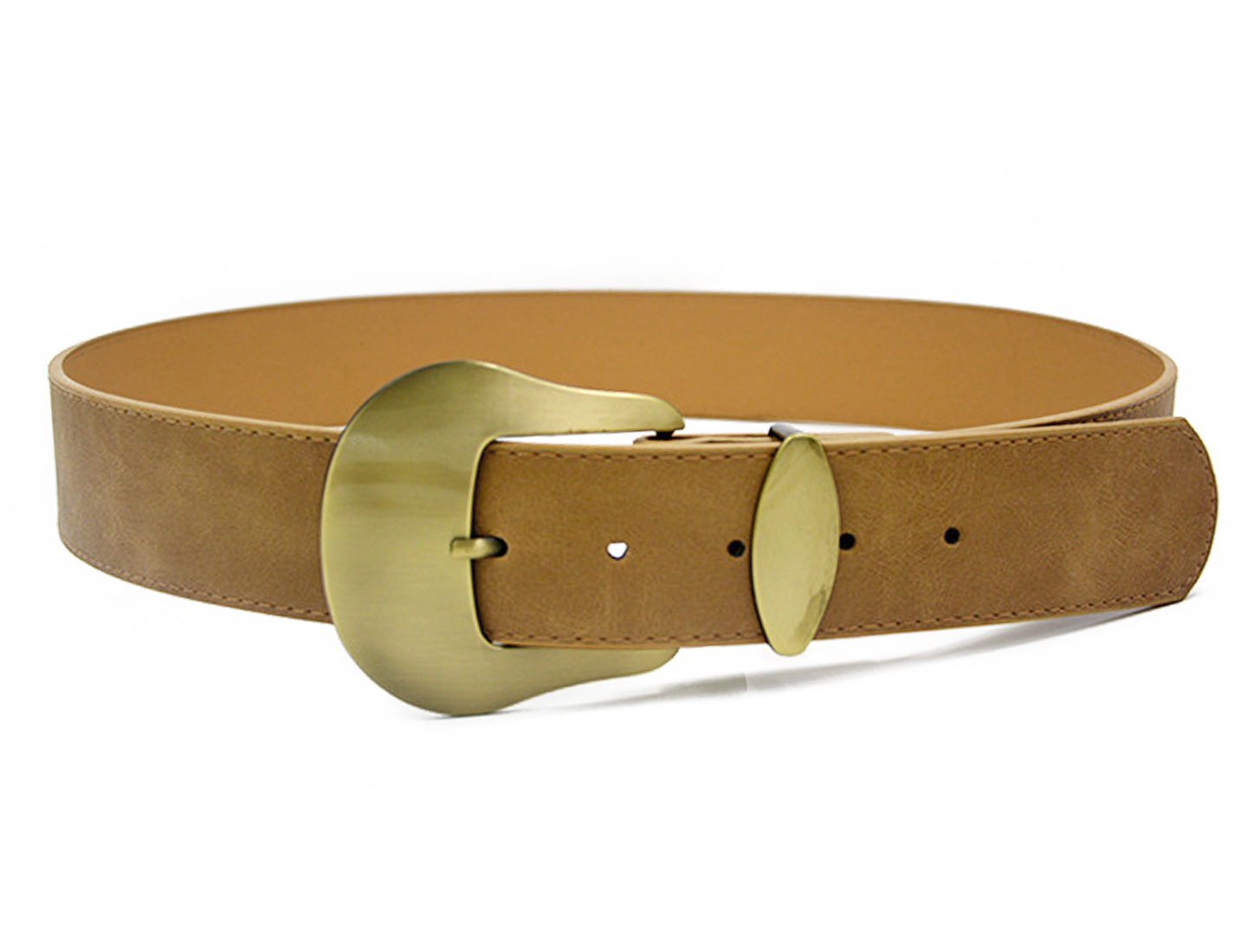 Women Single Pin Buckle Adjustable PU Waist Belt Camel