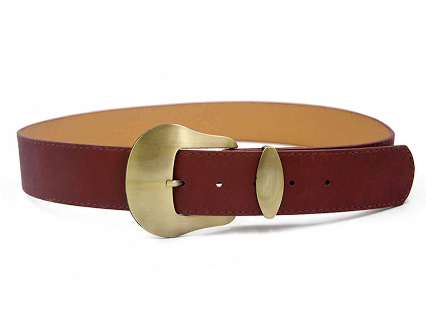 Women Single Pin Buckle Adjustable PU Waist Belt Red
