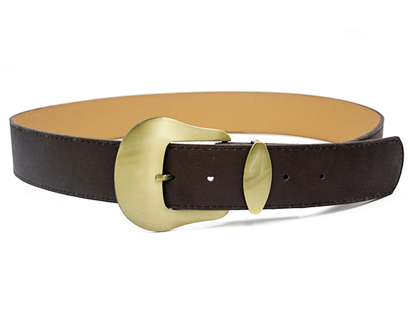 Women Single Pin Buckle Adjustable PU Waist Belt Dark Brown