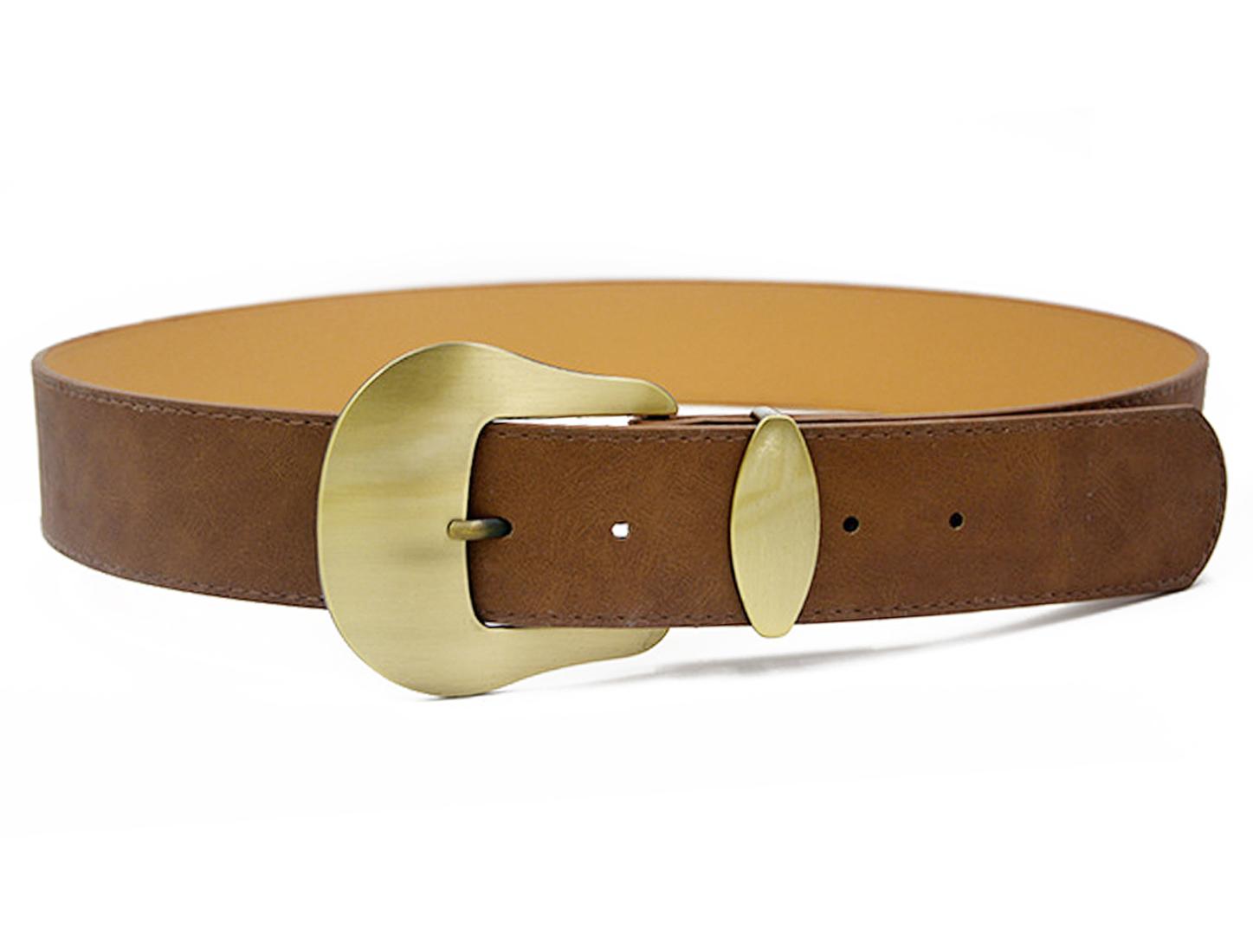 Women Single Pin Buckle Adjustable PU Waist Belt Light Brown
