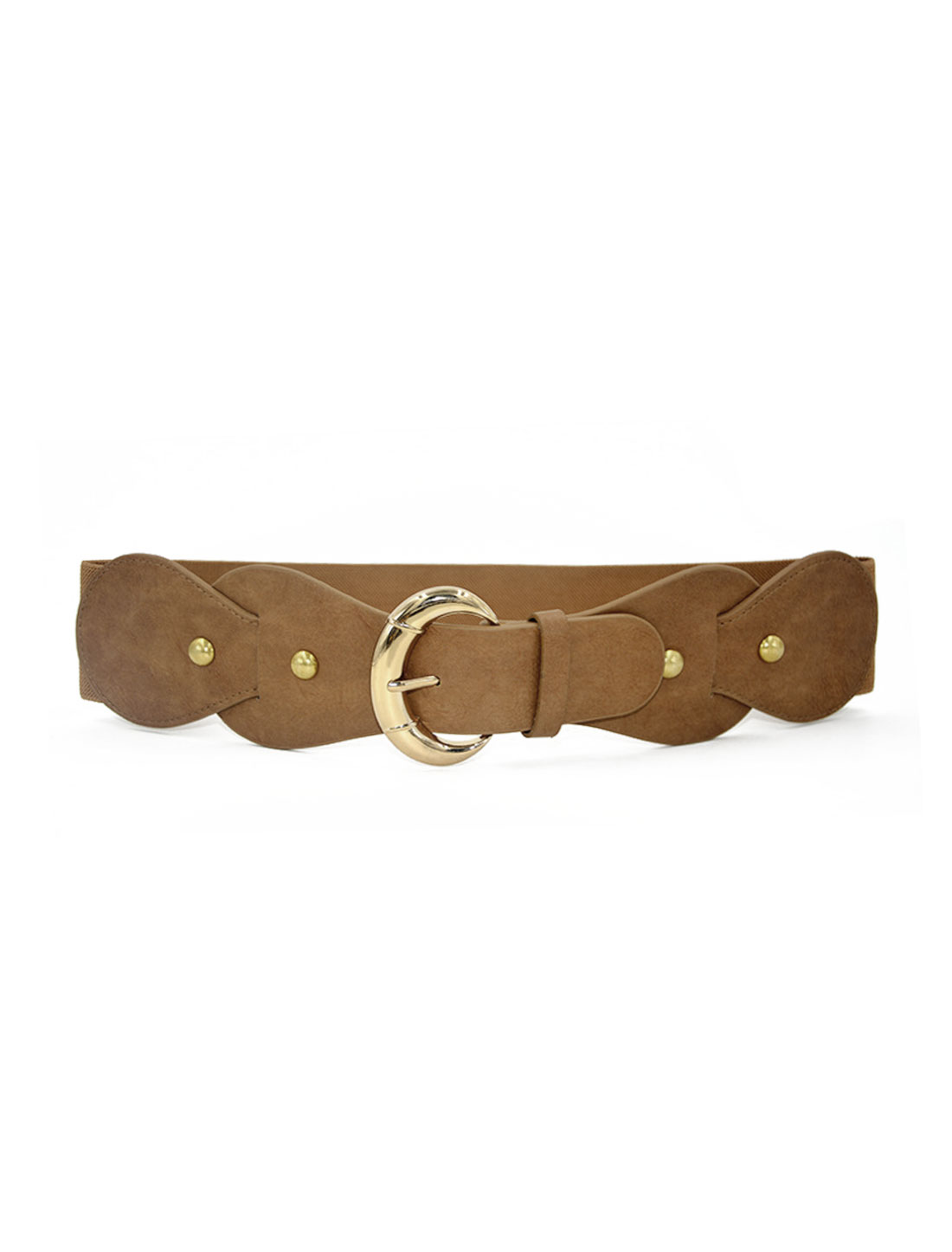 Women Single Pin Buckle PU Panel Elastic Waist Belt Camel