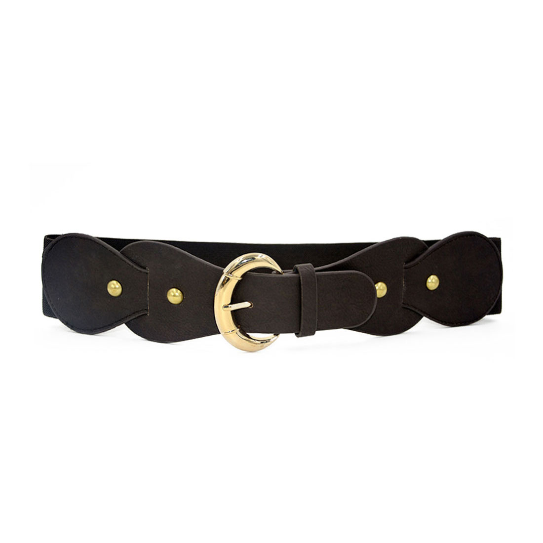 Women Single Pin Buckle PU Panel Elastic Waist Belt Dark Brown