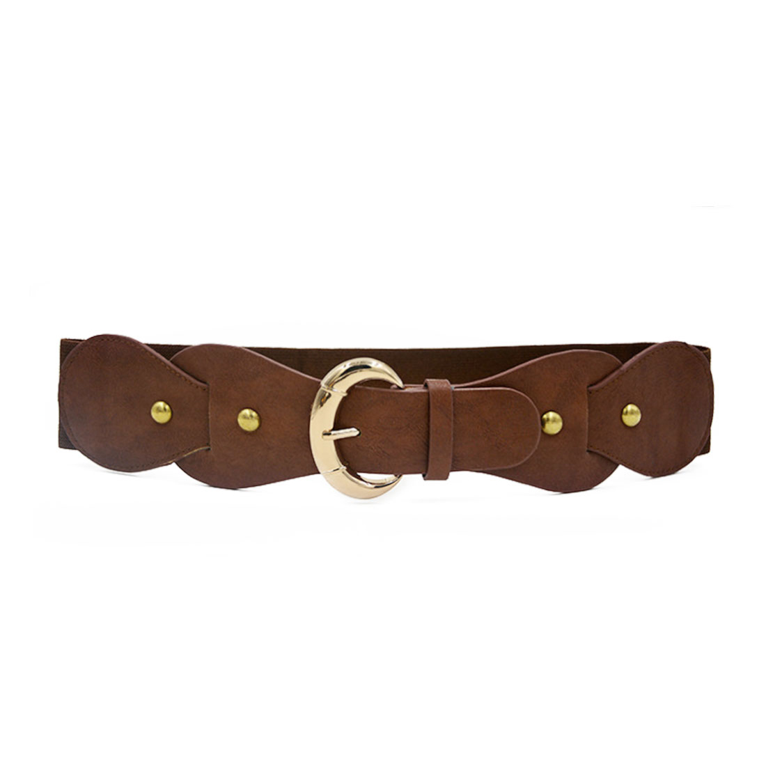 Women Single Pin Buckle PU Panel Elastic Waist Belt Light Brown