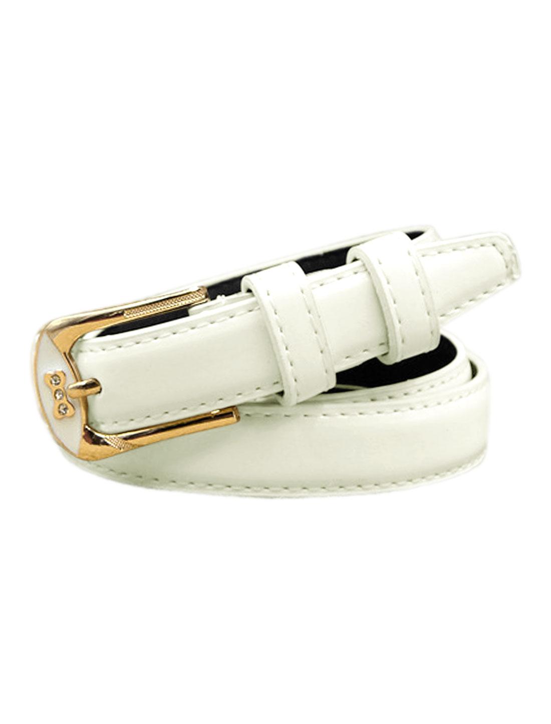 Women Rhinestones Decor Bone Design PU Waist Belt White