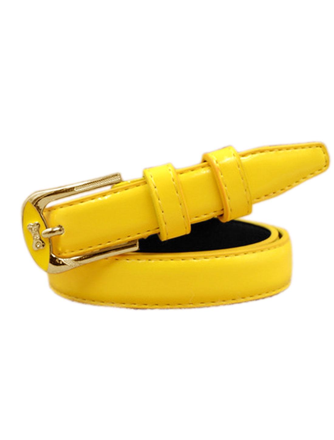 Women Rhinestones Decor Bone Design PU Waist Belt Yellow