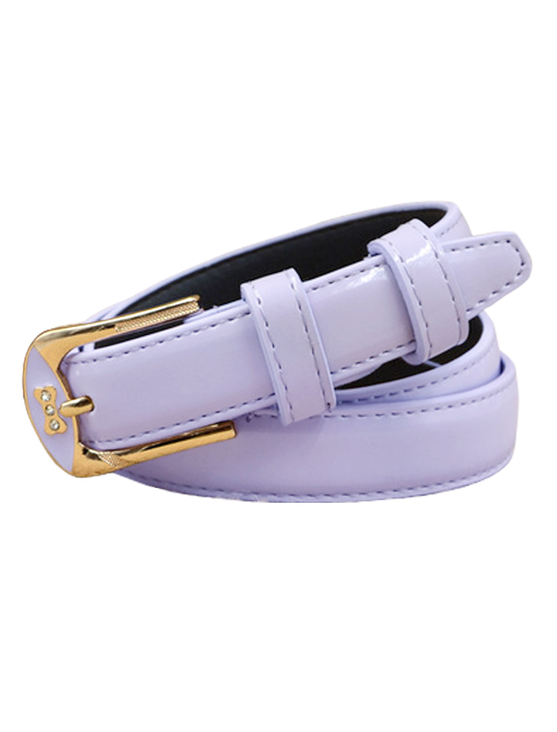 Women Rhinestones Decor Bone Design PU Waist Belt Purple