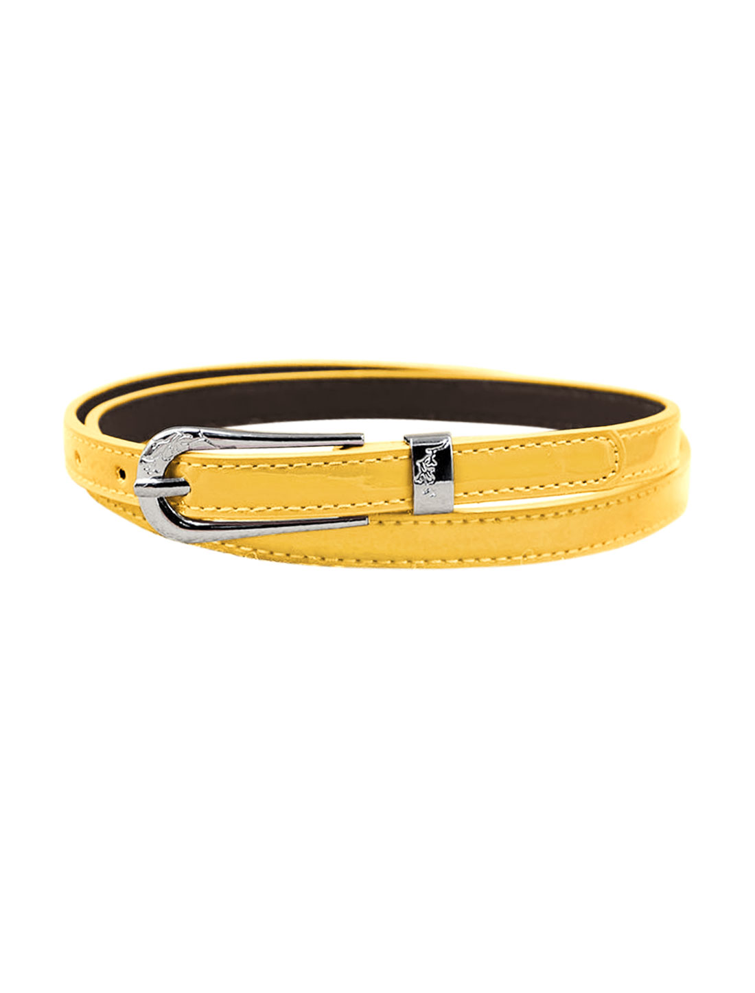 Women Single Pin Buckle Adjustable PU Waist Belt Yellow