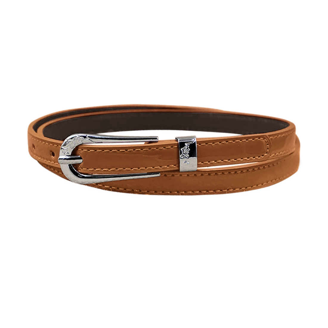 Women Single Pin Buckle Adjustable PU Waist Belt Camel