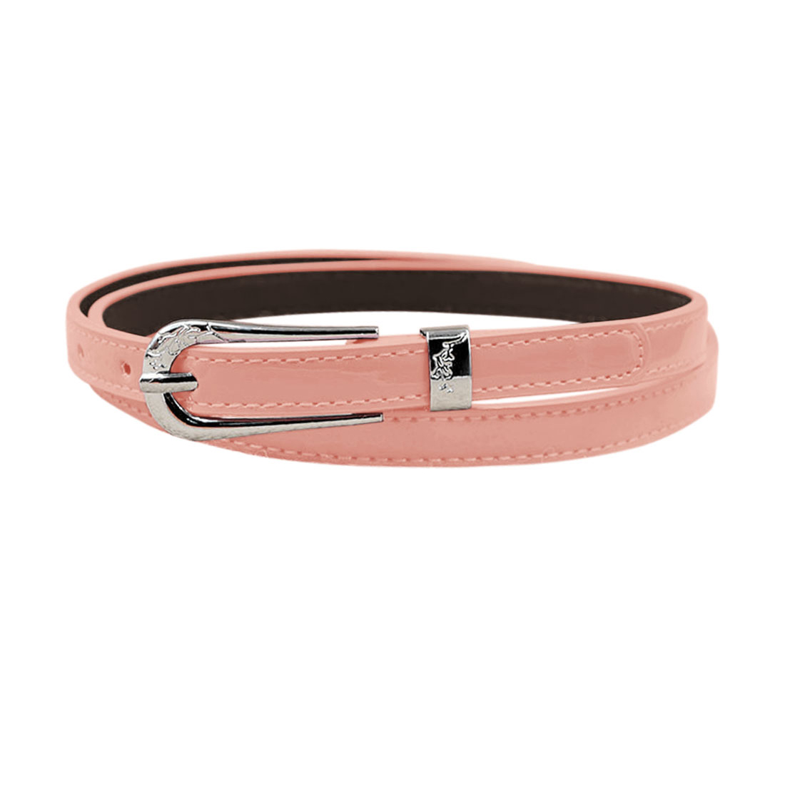Women Single Pin Buckle Adjustable PU Waist Belt Pink