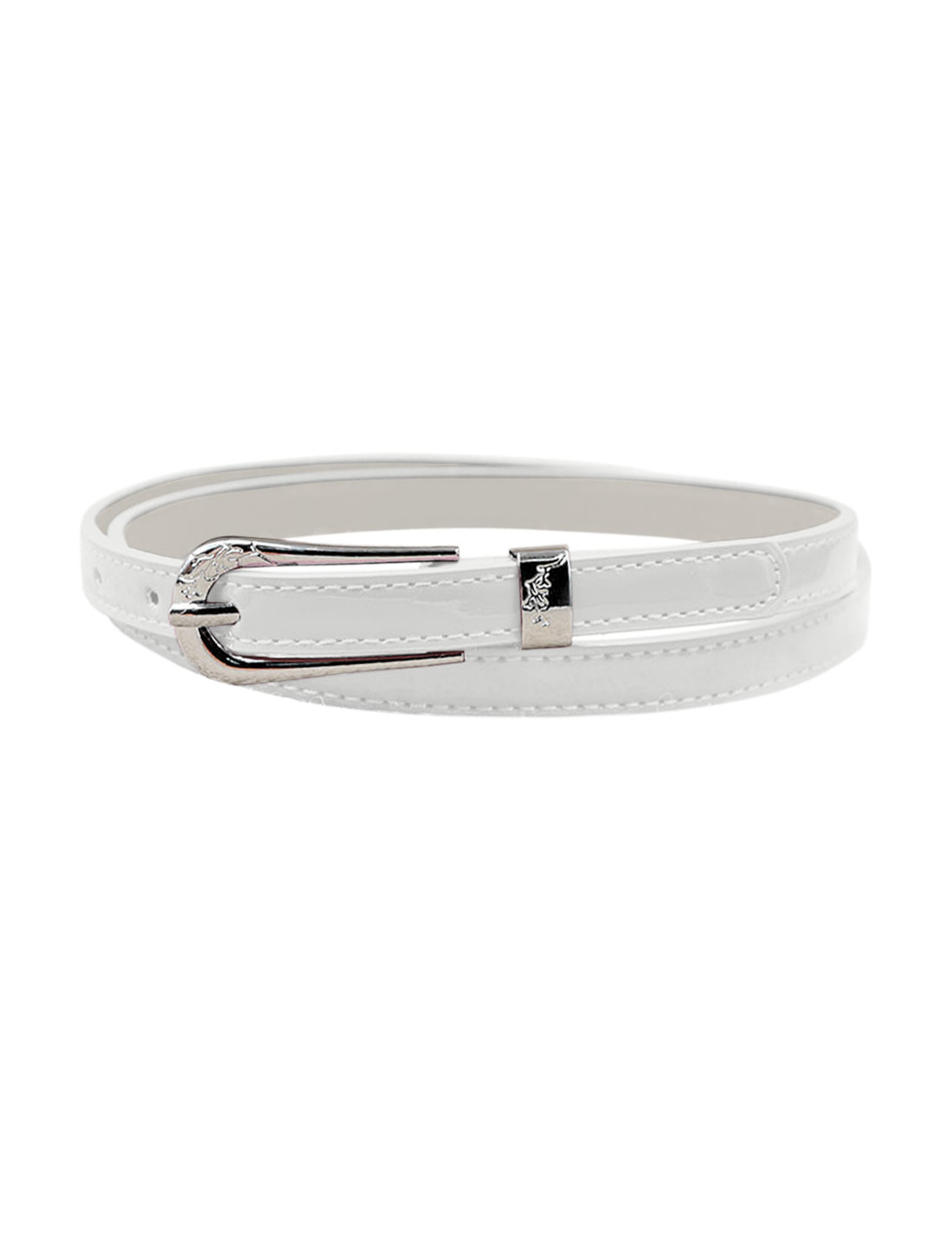 Women Single Pin Buckle Adjustable PU Waist Belt White