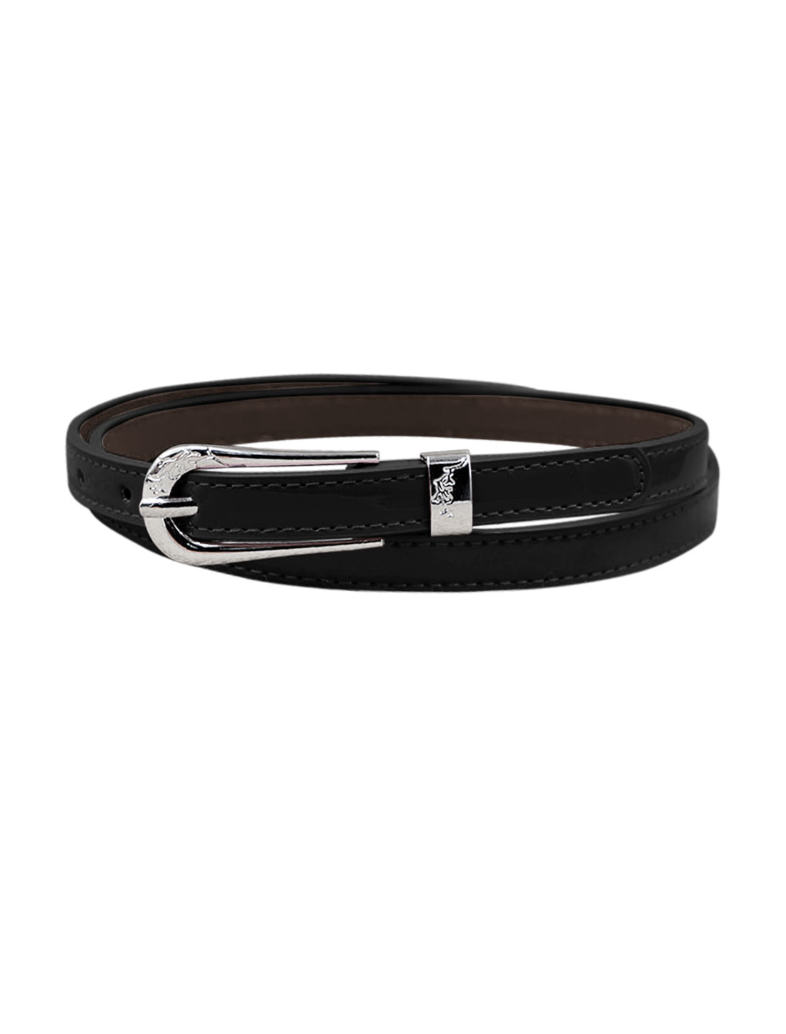 Women Single Pin Buckle Adjustable PU Waist Belt Black