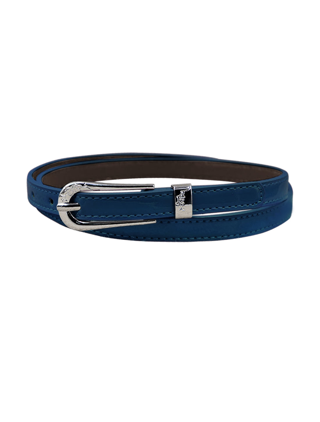 Women Single Pin Buckle Adjustable PU Waist Belt Blue