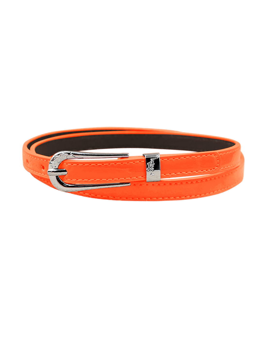 Women Single Pin Buckle Adjustable PU Waist Belt Orange