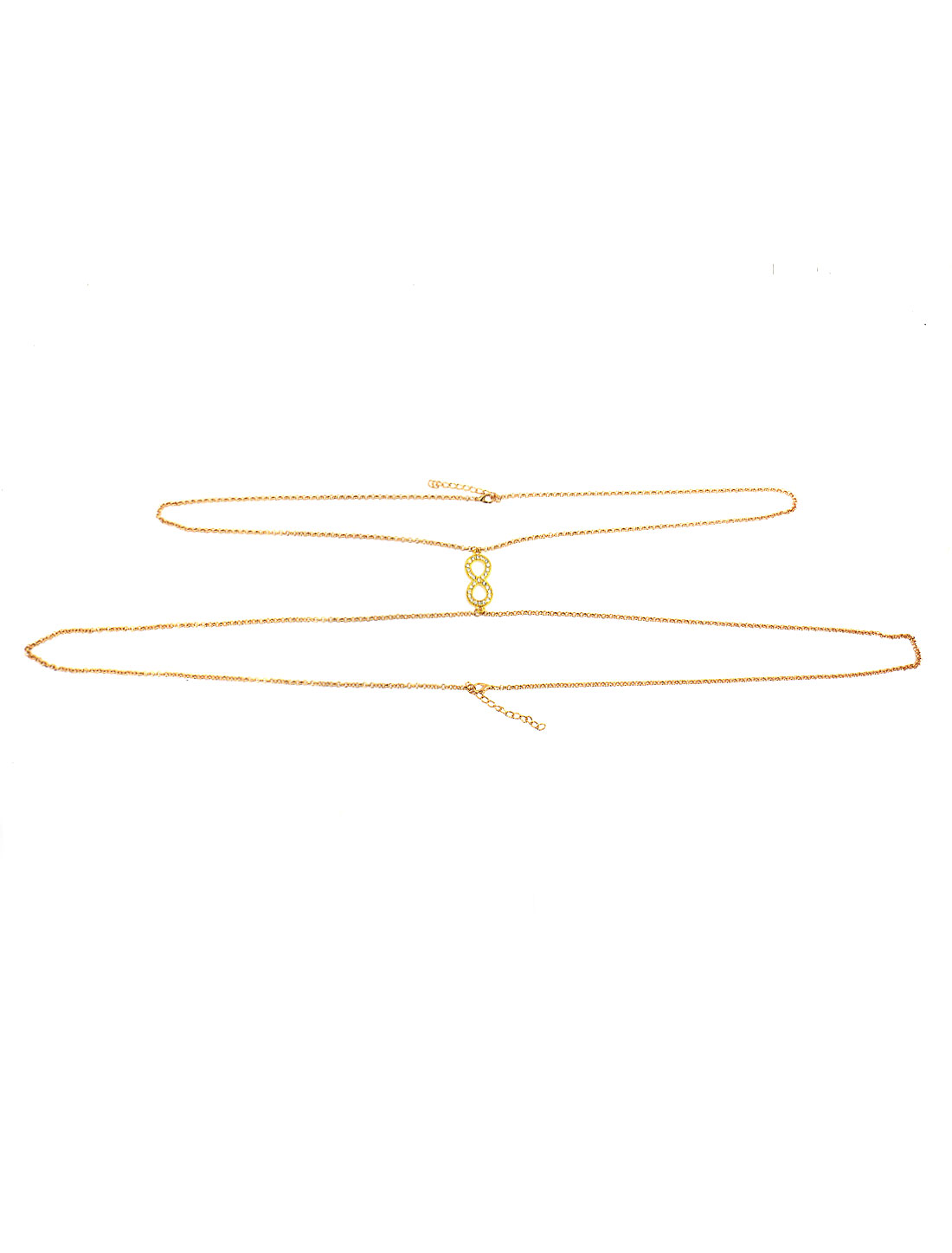 Women Layered Rhinestones Number Decor Body Chain Gold