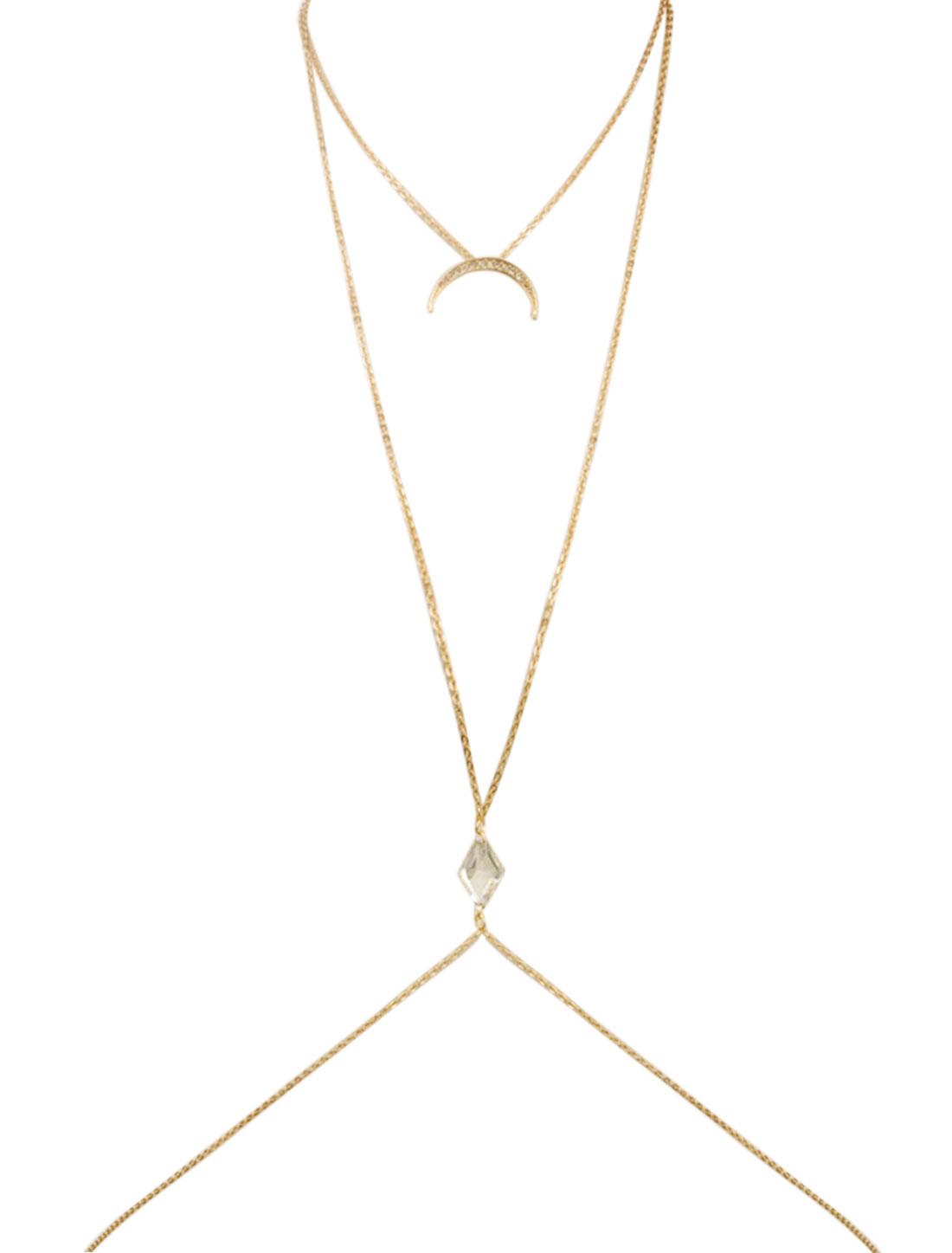Women Layered Moon Rhinestone Harness Waist Belly Body Chain Gold