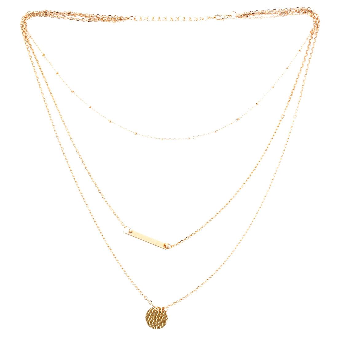Women Tripe Layer Bar Disc Design Pendant Necklace Gold