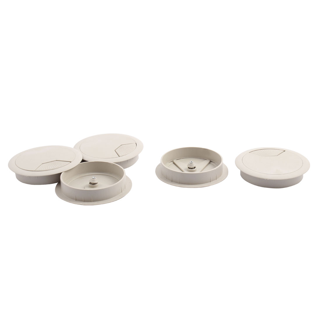 Home Office Computer Desk Plastic Round Grommet Tidy Cable Hole Cover Ash Gray 3.1 Inch Dia 5pcs