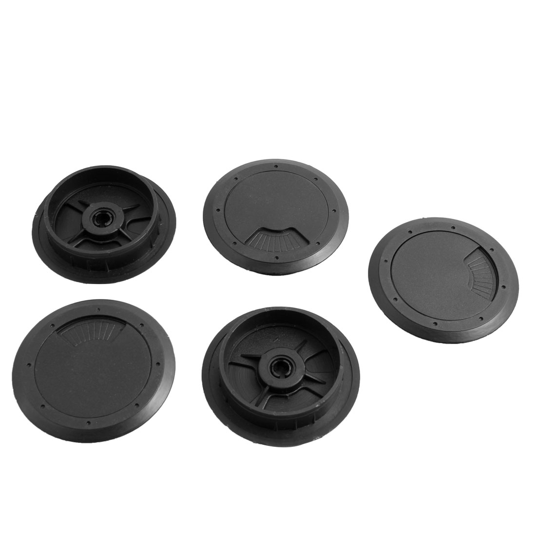 Computer Desk Threading Box Adjustable Cable Hole Cover Black 60mm Dia 5pcs