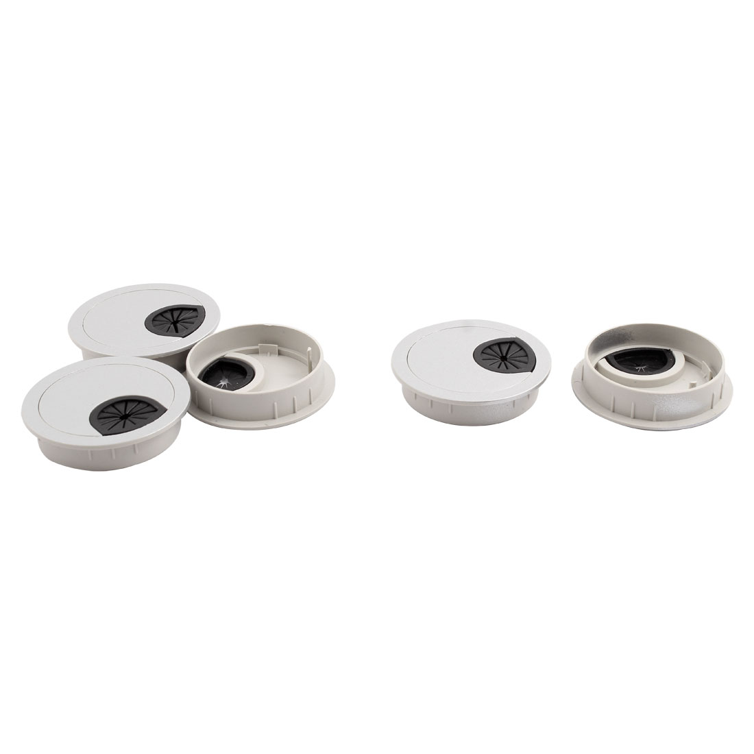 Office Computer Table Plastic Round Grommet Wire Cable Hole Cover Silver Tone 60mm Dia 5pcs