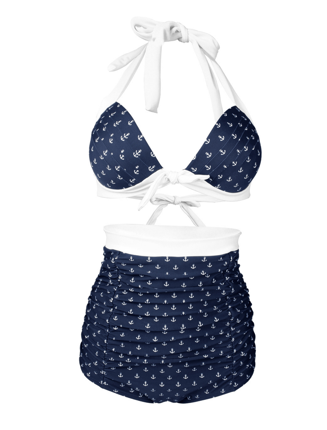 Women Vintage High Waist Halter Push Up Bikini Ruched Anchors Retro Bathing Suit XL