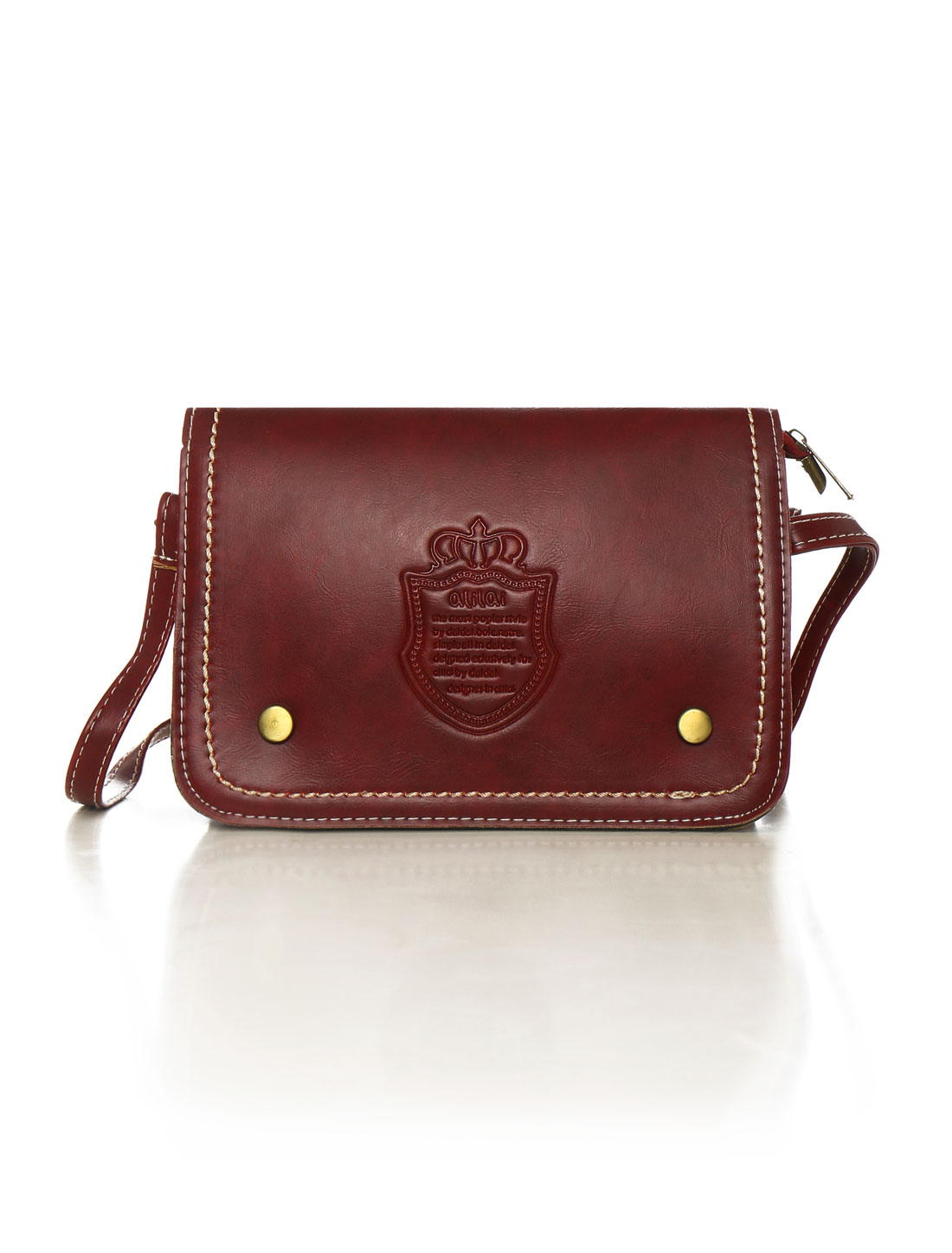 Women Letters Crown Embossed Magnetic Flap Closure Crossbody Bag Red