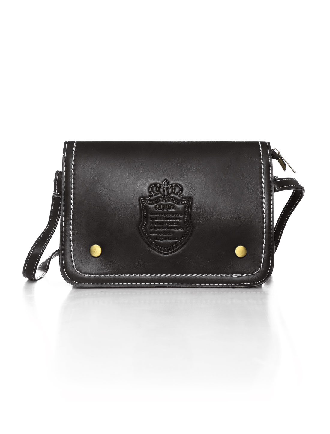 Women Letters Crown Embossed Magnetic Flap Closure Crossbody Bag Black