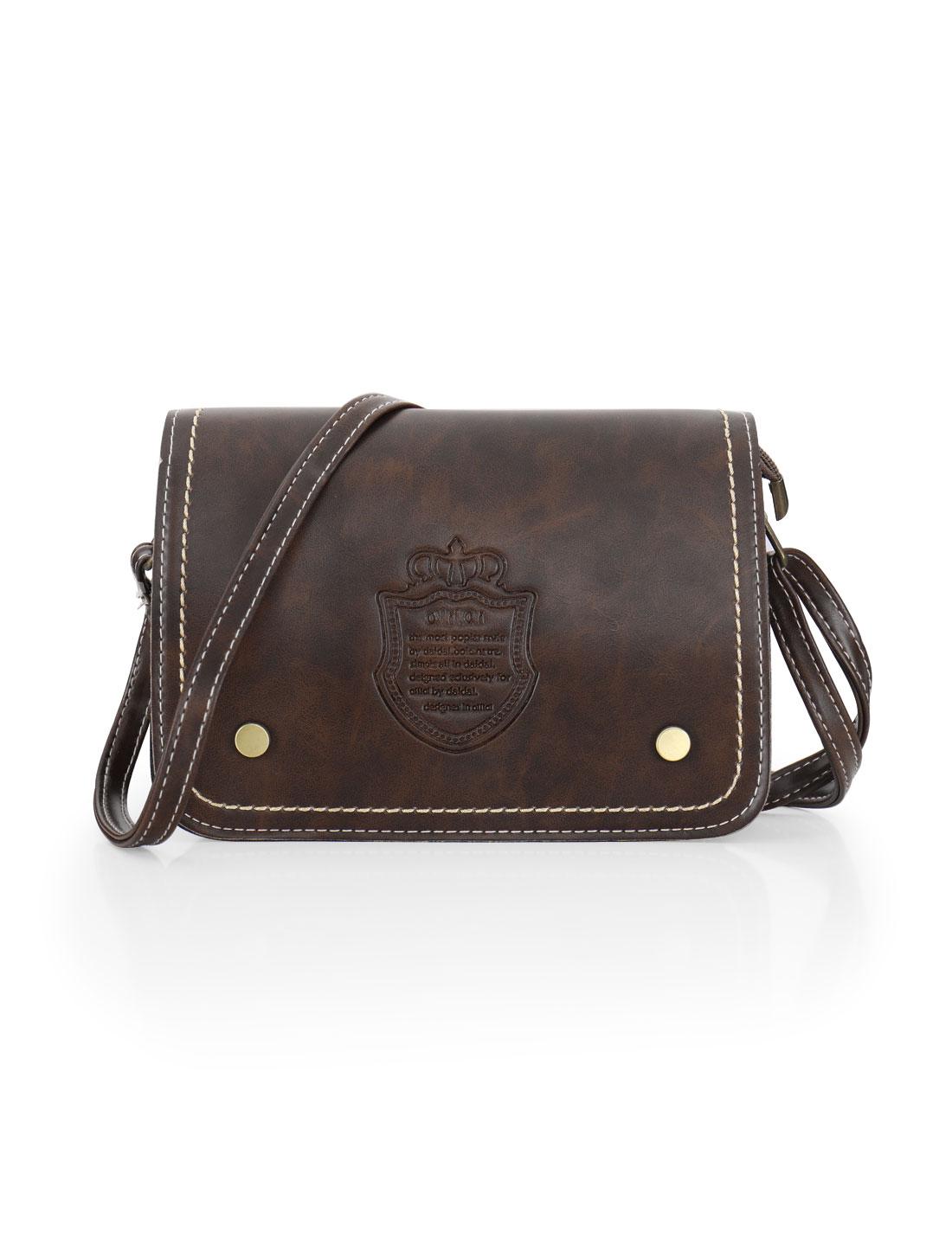 Women Letters Crown Embossed Magnetic Flap Closure Crossbody Bag Dark Brown